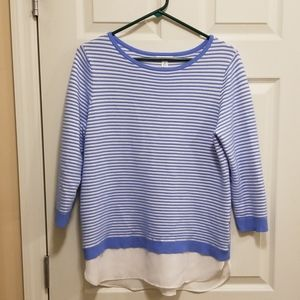Croft &  Barrow blue and white striped sweater